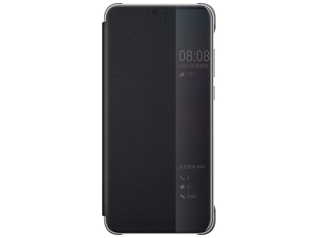 Huawei P20 pro case clear view Smart touch view flip cover 100 original official Huawei P20 Black (1)