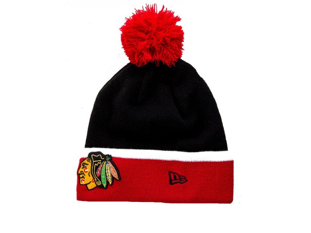 Čepice Chicago Blackhawks Bobble