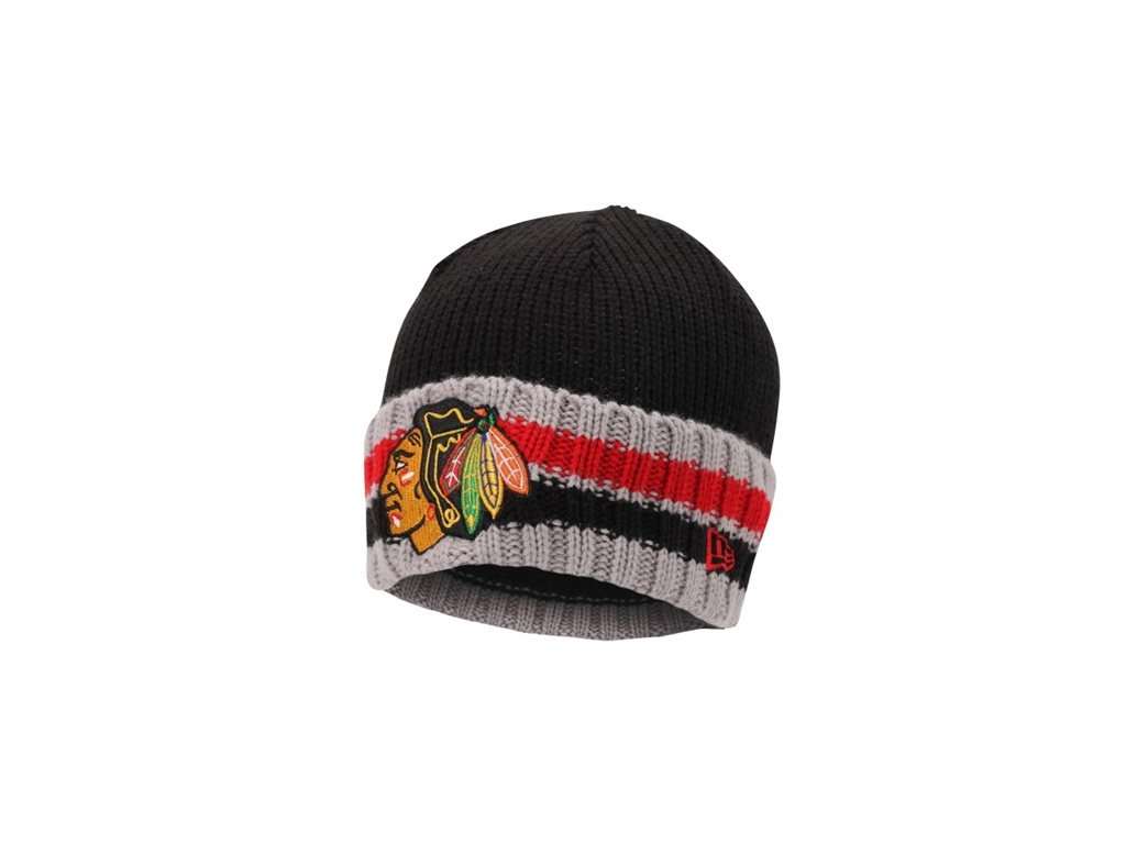 NHL čepice Chicago Blackhawks New Era Striper Beanie