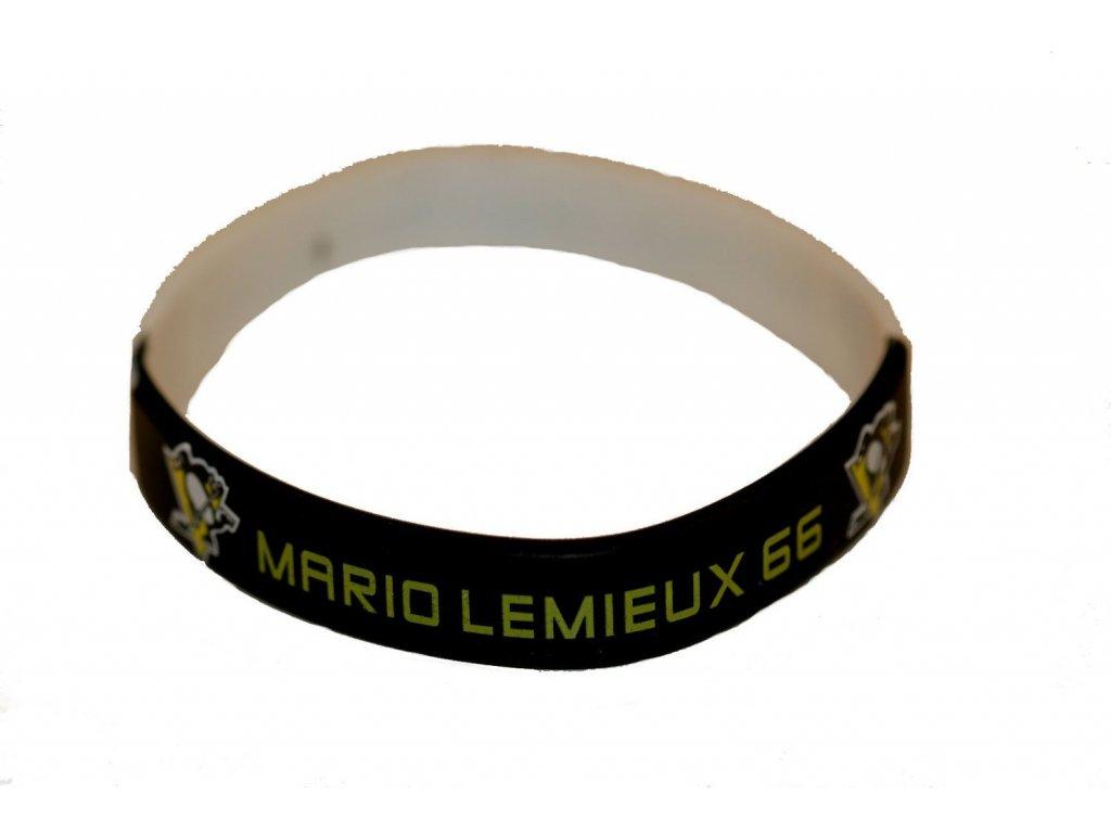 Silikonový náramek - Mario Lemieux 66 - pittsburgh penguins