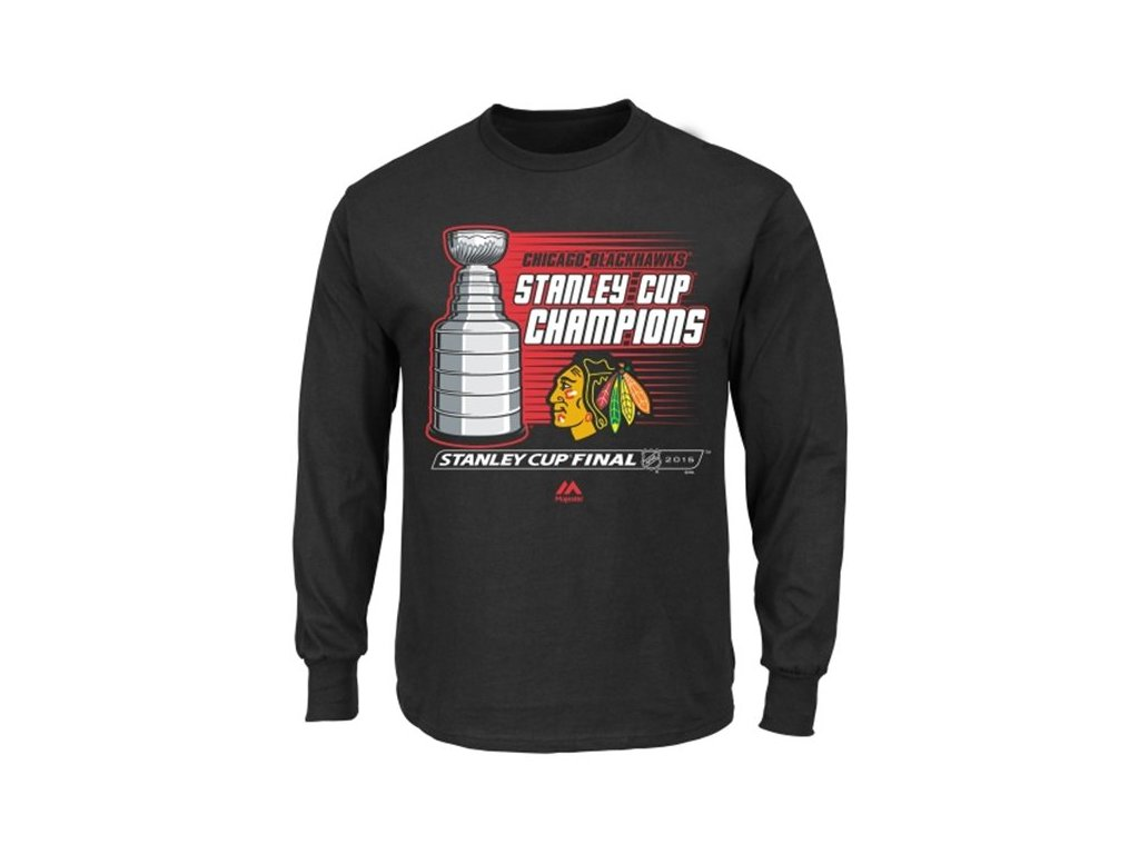 Tričko Chicago Blackhawks 2015 Stanley Cup Champions Natural Hatty Triple Peak dlouhý rukáv