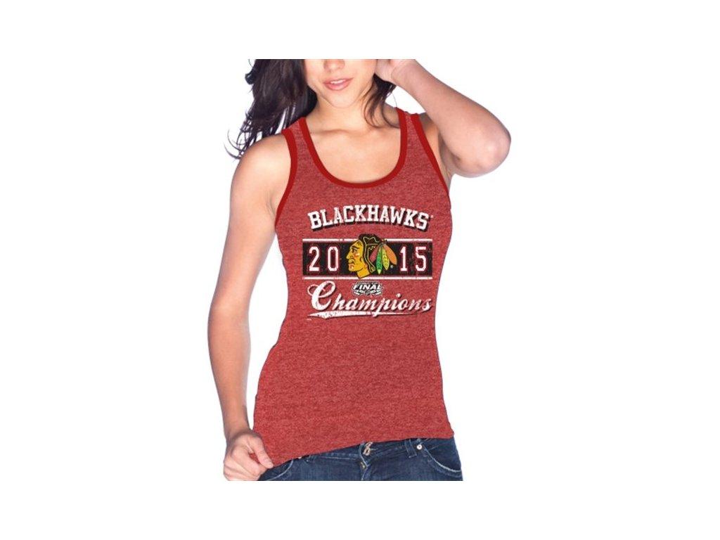 Dámský top Chicago Blackhawks 2015 Stanley Cup Champions Winning Contrast Tri-Blend