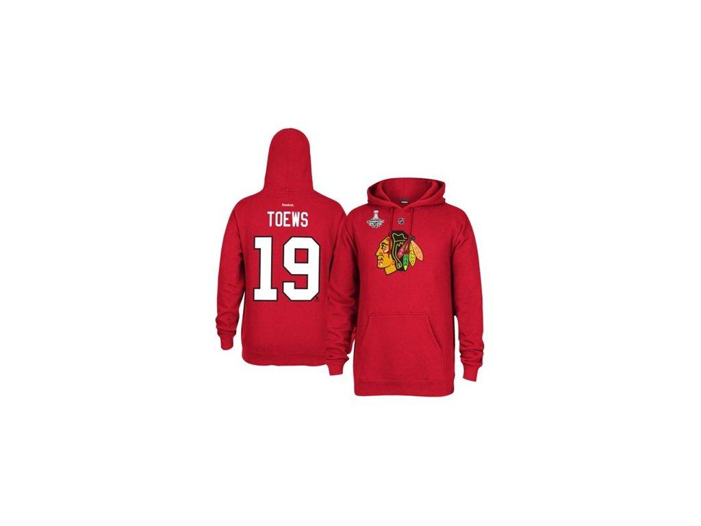 Mikina - #19 Jonathan Toews - Chicago Blackhawks 2015 Stanley Cup Champions Player Hoodie