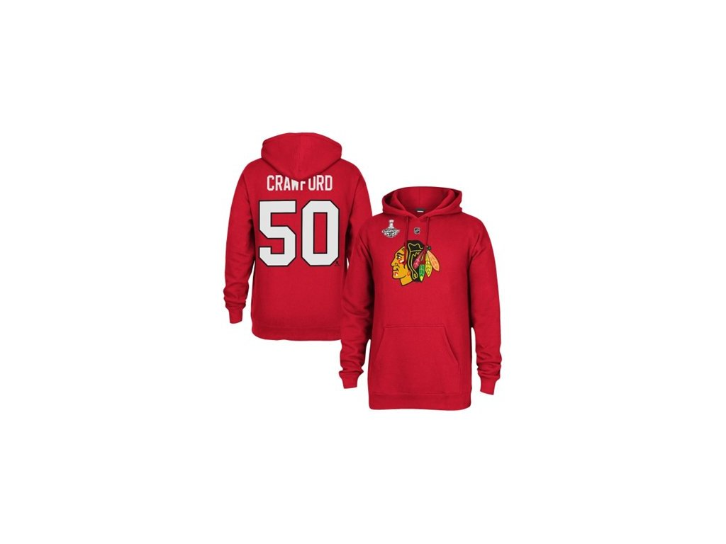 Mikina - #50 Corey Crawford - Chicago Blackhawks 2015 Stanley Cup Champions Player Hoodie
