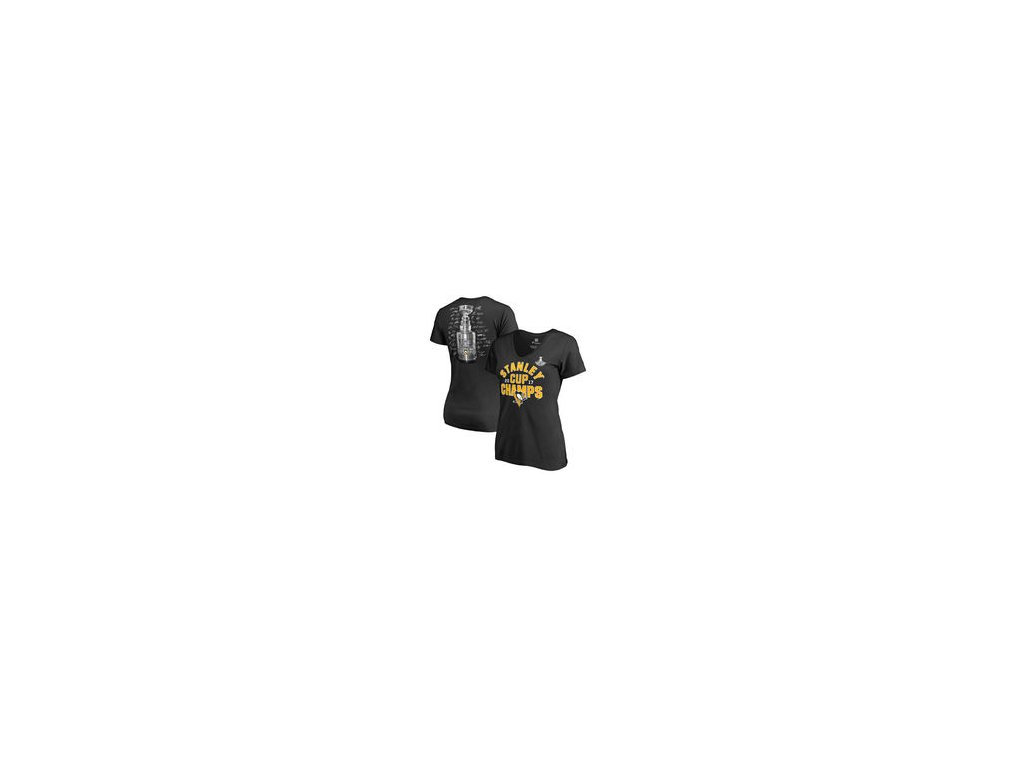 Dámské tričko Pittsburgh Penguins Fanatics Branded 2017 Stanley Cup Champions Shootout V-Neck T-Shirt - Black