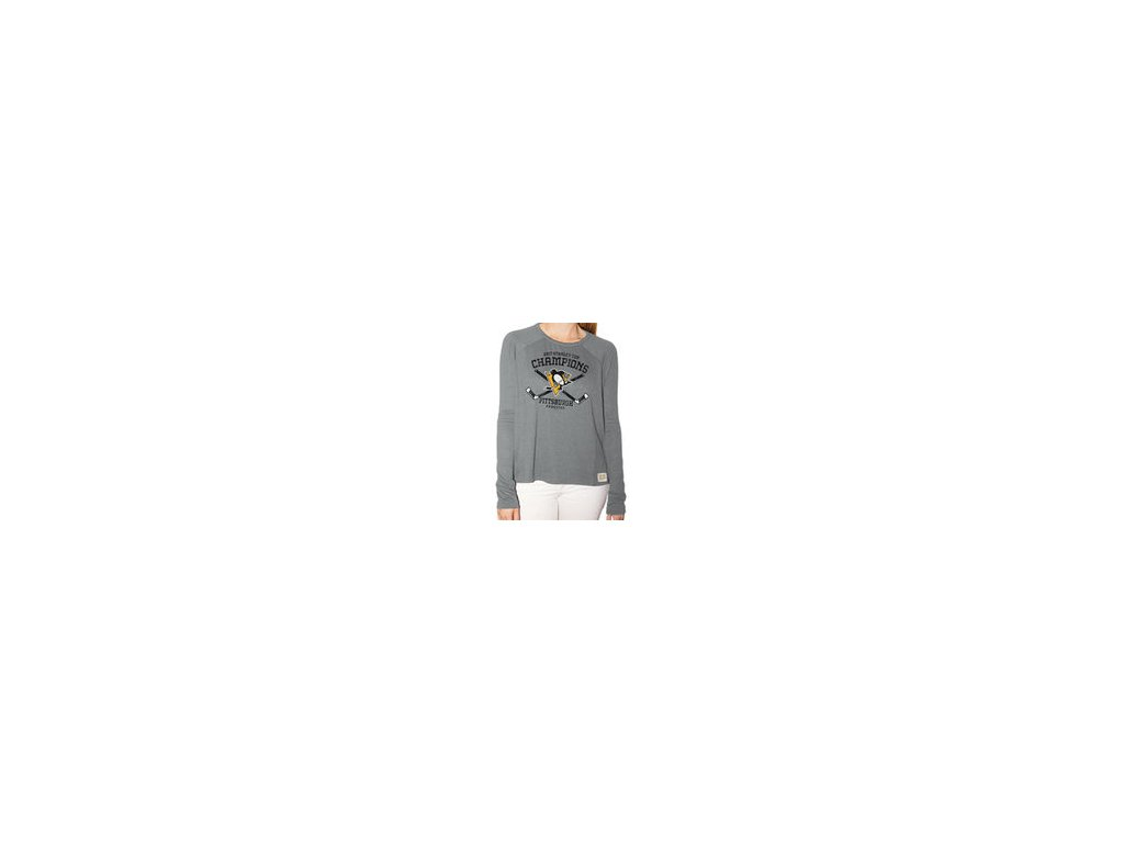 online retailer 905ef 84e76 Dámské tričko Pittsburgh Penguins Original Retro Brand Women's 2017 Stanley  Cup Champions Relaxed Raglan Long Sleeve T-Shirt - Gray