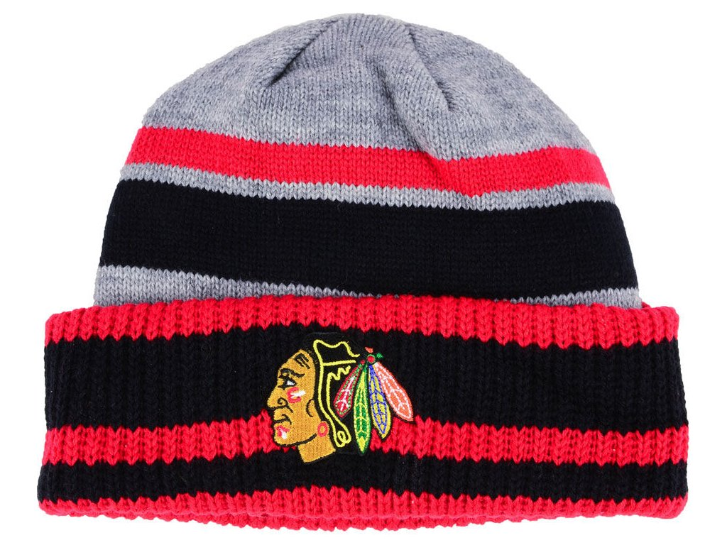 e2643f6a366 Zimní čepice Chicago Blackhawks adidas NHL Heathered Grey Beanie ...