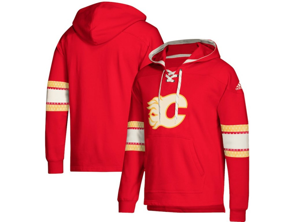 Mikina Calgary Flames Adidas Jersey Lace-Up Pullover Hoodie - Fanda ... c4cd7b623