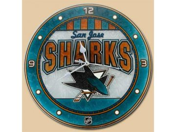 NHL nástěnné hodiny San Jose Sharks Art Glass Wall