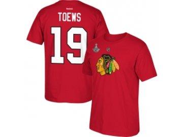 Tričko Jonathan Toews #19 Chicago Blackhawks 2015 Stanley Cup Champions červené