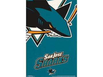 NHL Plakát San Jose Sharks Team Logo Cut