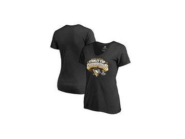 Dámské tričko Pittsburgh Penguins Fanatics Branded 2017 Stanley Cup Champions Slapshot V-Neck T-Shirt - Black