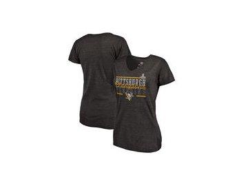 Dámské tričko Pittsburgh Penguins Fanatics Branded 2017 Stanley Cup Champions Iron Tri-Blend T-Shirt - Black