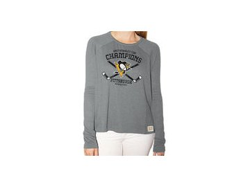 Dámské tričko Pittsburgh Penguins Original Retro Brand Women's 2017 Stanley Cup Champions Relaxed Raglan Long Sleeve T-Shirt - Gray