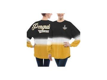 Dámské tričko Pittsburgh Penguins Fanatics Branded 2017 Stanley Cup Champions Ombre Long Sleeve Spirit Jersey - Black/Gold
