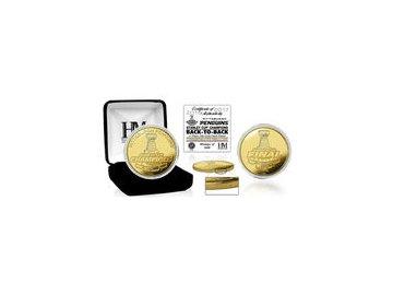 Zlatá pamětní mince Pittsburgh Penguins Highland Mint 2017 Stanley Cup Champions Gold Mint Coin