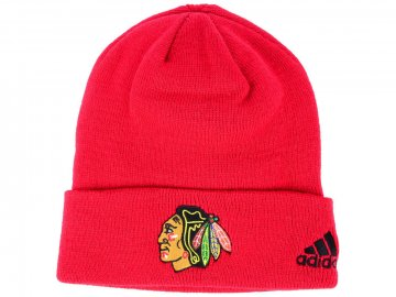 Zimní čepice Chicago Blackhawks adidas NHL Basic Cuff Knit RED