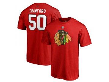Tričko #50 Corey Crawford Chicago Blackhawks Stack Logo Name & Number