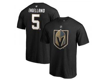 Tričko #5 Deryk Engelland Vegas Golden Knights Stack Logo Name & Number