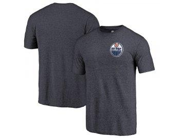 Tričko Edmonton Oilers Primary Logo Left Chest Distressed Tri-Blend