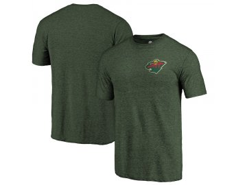 Tričko Minnesota Wild Primary Logo Left Chest Distressed Tri-Blend