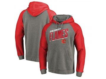 Mikina Calgary Flames Slant Strike Hoodie Tri-Blend