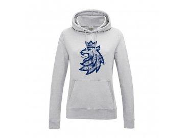 Mikina dámská klokanka logo lev patina seda