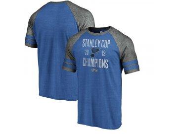 Pánské tričko St. Louis Blues 2019 Stanley Cup Champions In the Crease 2-Stripe Tri-Blend Raglan