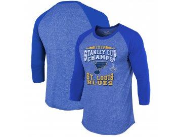 Pánské tričko St. Louis Blues 2019 Stanley Cup Champions The City Never Sleeps Raglan Tri-Blend