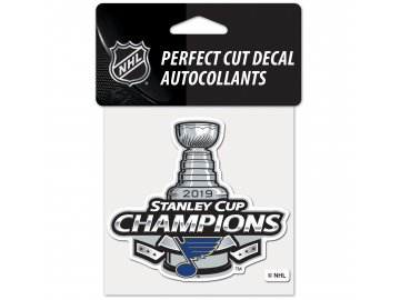 Samolepka St. Louis Blues WinCraft 2019 Stanley Cup Champions 4'' x 4'' Perfect Cut Decal