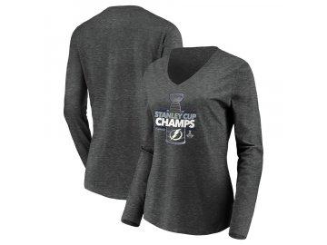 Dámské tričko Tampa Bay Lightning 2020 Stanley Cup Champions Locker Room Laser Shot V-Neck dlouhý rukáv