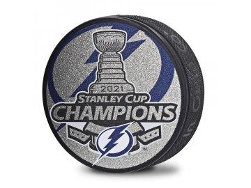 Puk Tampa Bay Lightning 2021 Stanley Cup Champions Glitter Logo Hockey Puck