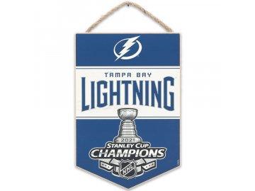 Dřevěná cedulka Tampa Bay Lightning 2021 Stanley Cup Champions 5.75'' x 8.625'' Mini Hanging Wood Sign