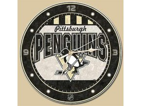 NHL nástěnné hodiny Pittsburgh Penguins Art Glass Wall