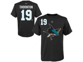 Tričko - #19 - Joe Thornton - San Jose Sharks - černé - dětské