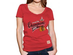 Dámské tričko Chicago Blackhawks 2015 Stanley Cup Champions Slim Fit Deep V-Neck
