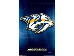 NHL Plakát Nashville Predators Team Logo Neon