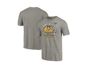 Tričko Pittsburgh Penguins Fanatics Branded 2017 Stanley Cup Champions Delay Tri-Blend T-Shirt - Heathered Gray