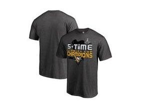 Tričko Pittsburgh Penguins Fanatics Branded 2017 Stanley Cup Champions Multi-Champ Puck T-Shirt - Heathered Gray