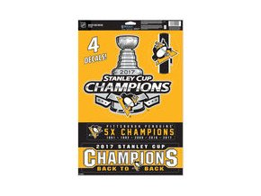 Samolepka Pittsburgh Penguins WinCraft 2017 Stanley Cup Champions 11'' x 17'' Multi-Use Decal Sheet