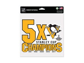 Samolepka Pittsburgh Penguins WinCraft 2017 Stanley Cup Champions 8'' x 8'' Perfect Cut Decal