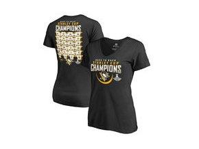 Dámské tričko Pittsburgh Penguins Fanatics Branded 2017 Stanley Cup Champions Rebound Roster V-Neck T-Shirt - Black