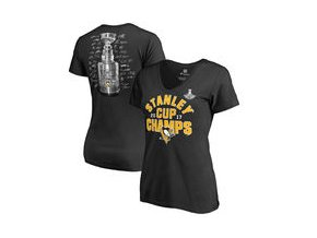 Dámské tričko Pittsburgh Penguins Fanatics Branded 2017 Stanley Cup Champions Shootout V-Neck T-Shirt - Black
