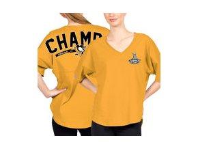 Dámské tričko Pittsburgh Penguins Fanatics Branded Women's 2017 Stanley Cup Champions Rink Spirit T-Shirt - Gold
