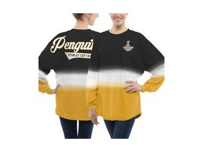 Dámské tričko Pittsburgh Penguins Fanatics Branded 2017 Stanley Cup Champions Ombre Long Sleeve Spirit Jersey - Black/Gold