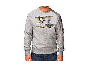 Mikina Pittsburgh Penguins Original Retro Brand 2017 Stanley Cup Champions Raglan Long Sleeve Crew Sweatshirt - Gray
