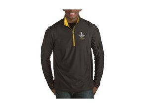 Mikina Pittsburgh Penguins Antigua 2017 Stanley Cup Champions Tempo Quarter-Zip Pullover Desert Dry Jacket - Black/Gold
