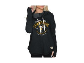 Dámská mikina Pittsburgh Penguins Original Retro Brand Women's 2017 Stanley Cup Champions Funnel Neck Sweatshirt - Black