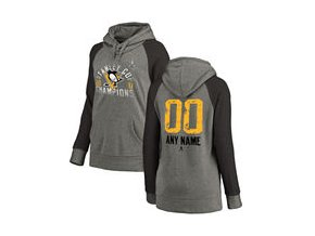 Dámská mikina Pittsburgh Penguins Fanatics Branded Women's 2017 Stanley Cup Champions Personalized Glove Tri-Blend Raglan Pullover Hoodie - Heather Gray