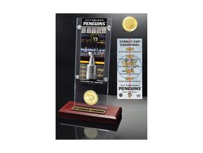 Pittsburgh Penguins Highland Mint 2017 Stanley Cup Champions 5-Time Multi-Champs Ticket & Bronze Coin Acrylic Desk Top